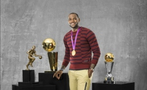 LeBron with trophies